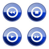 Set icon blue glossy #24. Royalty Free Stock Photos