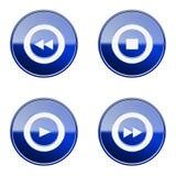 Set icon blue glossy #24. Set icon blue #24, isolated on white background Royalty Free Stock Photos
