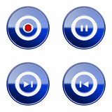 Set icon blue glossy #25. Stock Image