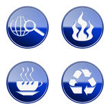 Set icon blue glossy #01. Set icon blue #01, isolated on white background.Recycling symbol icon, coffee cup icon, Industry warning sign, globe and magnifier Royalty Free Stock Image