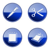Set icon blue glossy #15. Set icon blue #15, isolated on white background. Table icon, Pen icon, Scissors icon, Notebook icon vector illustration