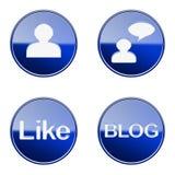 Set icon blue glossy #06. Stock Image