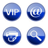 Set icon blue glossy #02. Royalty Free Stock Photos