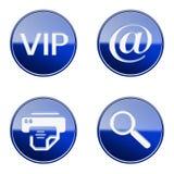 Set icon blue glossy #02. Royalty Free Stock Photos