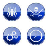 Set icon blue glossy #14. Royalty Free Stock Images