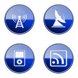 Set icon blue glossy #28. Royalty Free Stock Photography