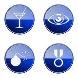 Set icon blue glossy #19. Royalty Free Stock Image