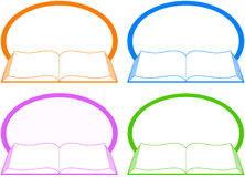Set icon with book and place for text Royalty Free Stock Photos
