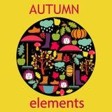 Set icon of cartoon autumn elements Cute design- illustration Stock Photo