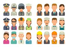 Set icon character cook, builder, business and medical people. Set icon people different professions. Character cook, builder, business, army, police, fireman Stock Photo