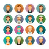 Set icon character cook, builder, business and medical people. Stock Photos