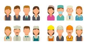 Set icon character cook, builder, business and medical people. Royalty Free Stock Images