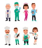 Set icon character cook and doctor. Royalty Free Stock Photos