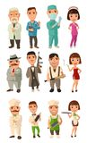 Set icon character cook, mafia, doctor. Waiter, chef, waitress, don, capo, soldier, dancer. Stock Photo