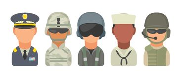 Set icon character military people. Soldier, officer, pilot, marine, sailor, trooper. Set icon character military people. Soldier, officer, pilot, marine Royalty Free Stock Photo