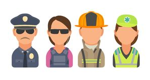 Set icon character people. Police, bodyguard, fireman, paramedic. Stock Image