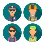 Set icon character people. Police, bodyguard, fireman, paramedic. Vector flat illustration on turquoise circle Royalty Free Stock Photography
