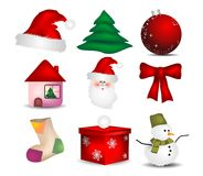 Set Icon Christmas. 9 items set with decorated Christmas vector illustration