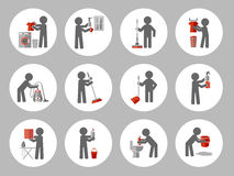 Set of icon cleaning with figure people. Royalty Free Stock Photo