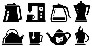 Set icon for coffee and tea appliances Stock Photography