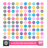 Set of 100 icon with color background for web and mobile smart p. Set of 100 icon with background for web and mobile smart phone ui element vector illustration Royalty Free Stock Photos