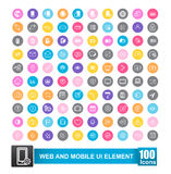 Set of 100 icon with color background for web  Stock Images