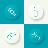 Set icon Computer mouse. Pointer to click. outline. button with shadow Royalty Free Stock Photos