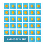 Set icon currency symbol on gold coin. Vector whith shadow Stock Photography