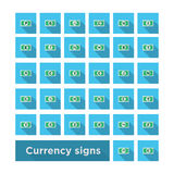 Set icon currency symbol. Vector whith shadow Royalty Free Stock Photography