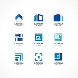 Set of icon design elements. Abstract logo ideas for business company. Building, construction, house, connection Royalty Free Stock Photography