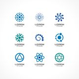 Set of icon design elements. Abstract logo ideas for business company, communication, technology, science and medical Royalty Free Stock Image