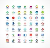 Set of icon design elements. Abstract logo ideas for business company. Finance, communication, eco, technology, science Stock Images