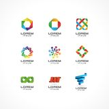 Set of icon design elements. Abstract logo ideas for business company. Internet,  communication, technology, geometric Stock Photography