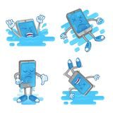Set wet smartphone. Set icon differences sad dead smartphone mobile tablet which fall down in blue water wet touch screen display problem need clean repair Royalty Free Stock Photo