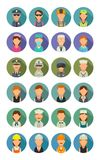 Set icon different professions. Character cook, builder, business, army and medical people. Stock Photo