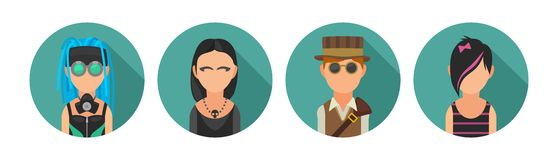 Set icon different subcultures people. Cybergoth, emo, steampunk, goth. Royalty Free Stock Photography