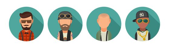 Set icon different subcultures people. Hipster, biker, skinhead, raper. royalty free illustration