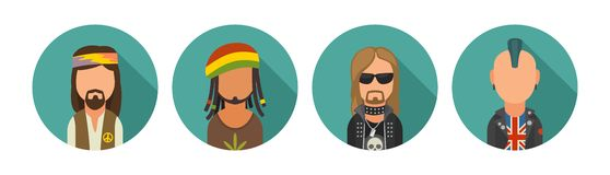 Set icon different subcultures people. Hipster, raper, emo, rastafarian, punk, biker, goth, hippy, metalhead, steampunk. Set icon different subcultures people stock illustration
