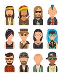 Set icon different subcultures people. Hipster, raper, emo, rastafarian, punk, biker, goth, hippy, metalhead, steampunk, skinhead, royalty free illustration