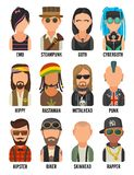 Set icon different subcultures people. Hipster, raper, emo, rastafarian, punk, biker, goth, hippy, metalhead, steampunk Stock Photography