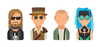Set icon different subcultures people. Metalhead, steampunk, skinhead, cybergoth Royalty Free Stock Image