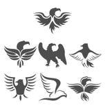 Set icon of eagles symbol isolated on white background Stock Image