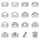 Set of icon for email and message. Simple set of mail related icons collection Royalty Free Stock Photos