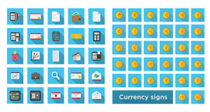 Set icon finance and set currency symbol on gold coin. Vector whith shadow Stock Images
