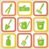 Set of 9 icon of garden instruments Stock Photography