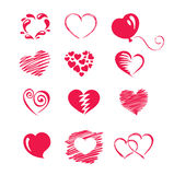 Set icon -- hearts. Vector Icons - a set of abstract red hearts royalty free illustration