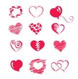 Set icon -- hearts Stock Image