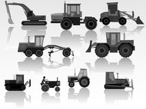 Set of icon heavy machines. Stock Photos