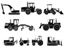 Set of icon heavy machines. Set simple icon of tractors, bulldozers, excavators and grader in monochrome tone Stock Images