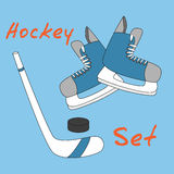 Set icon of hockey equipment icons - skates, stick and puck. Royalty Free Stock Image
